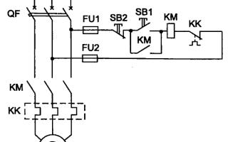 Схема управления трехфазным асинхронным двигателем