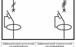 Обозначение дифавтомата на схеме
